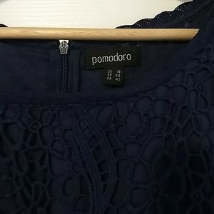 Pomodoro Dresses - Gorgeous navy dress with lace styling